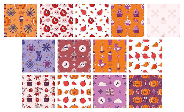 Set of Halloween seamless patterns.