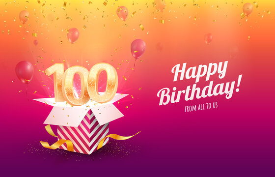 Celebrating 100th years birthday vector illustration. Hundred anniversary celebration background. Adult birth day. Open gift box with flying holiday numbers