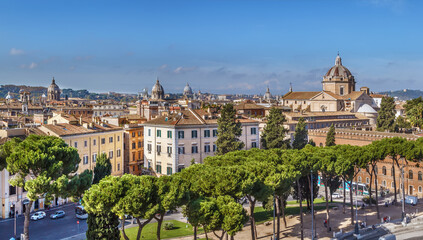 Aerial panoramic view of Rome, Italy