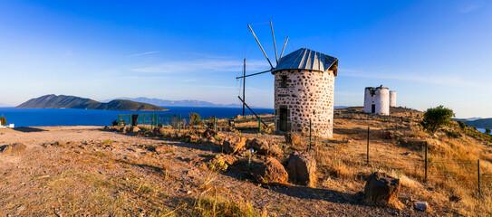 Bodrum - popular tourist coastal town in Turkey. Traditional old windmills