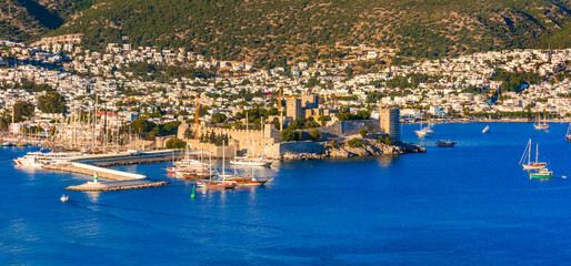 Bodrum, landmarks of Turkey . hilltop view of marina and old town with medieval castle