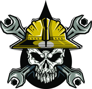 oilfield roughneck skull logo with hard hat and crossed wrenches
