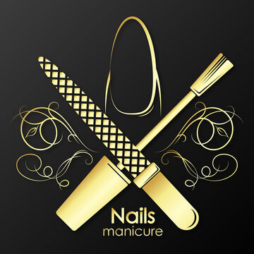 Manicure and pedicure nail care golden symbol