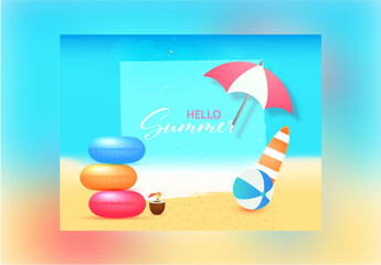 Cool Hello Summer Banner Layout