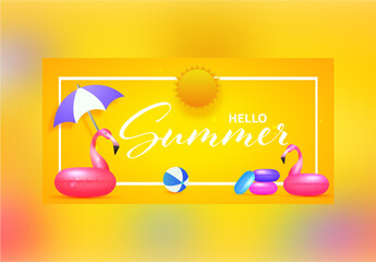 Hello Summer Banner Layout in Bright Yellow  Color