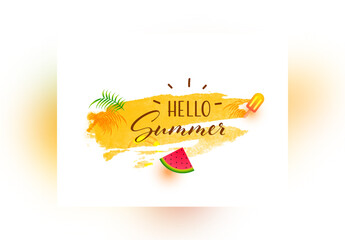 Hello Summer Banner Layout in Watercolor Style
