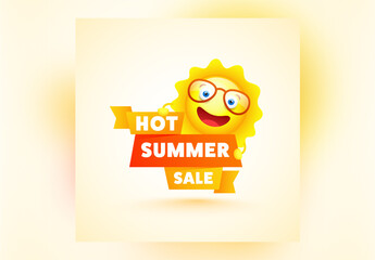 Hot Summer Sale Banner Layout  with Happy Sun Element