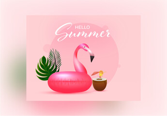 Pink Hello Summer Banner Layout with Image Placeholder