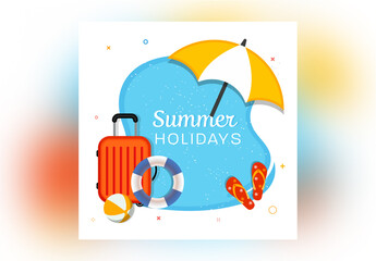 Summer Holidays Banner Layout with Travel Elements