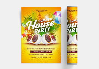Summer House Party Poster Layout with Bright Yellow Colors