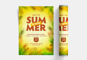 Summer Party Flyer Layout with Leaves on Yellow Background
