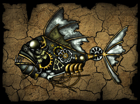 Steampunk style. Industrial mechanical fish. High quality illustration