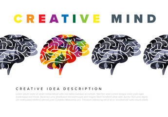 Creative Mind Concept Illustration with Gray and Colorful Brain Elements