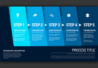 Progress Infographic with Five Blue Steps and Icons