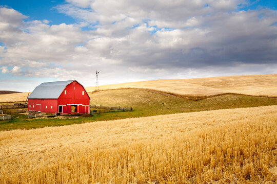 A red barn in the fall season in the palouse wheat country in southeastern Washington.