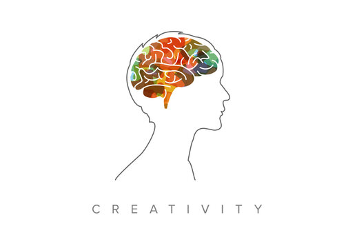 Thinking Concept Illustration with Head Silhouette and Colorful Brain Element