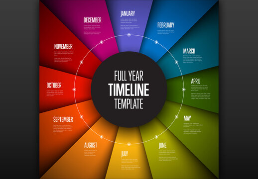 Full Year Timeline Infographic with Folded Paper Style and Circular Element