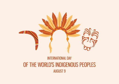 International Day of the World's Indigenous People vector. Indigenous people symbols icon set. Indian headband icon. Maori face ornament vector. Boomerang icon vector. Native people attributes icon