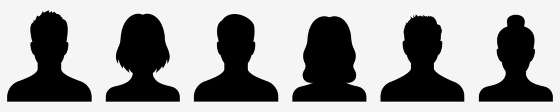 Avatar icon. Profile icons set. Male and female avatars. Vector illustration