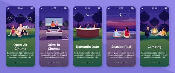 Open air cinema onboarding mobile app screen vector template. Drive in movie watching. Romantic date. Seaside real. Walkthrough website steps with flat characters. Smartphone cartoon UX, UI, GUI