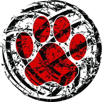 distressed volleyball with mascot paw print inside for school, college or league