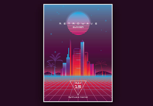 Retrowave Neon Summer Music Poster Layout