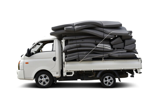 open van truck  with mattresses for sun loungers