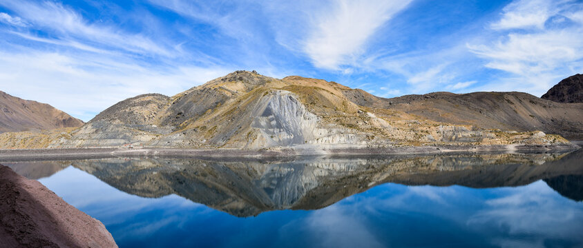 panoramic landscape of the mountains of Cajon Del Maipo, Chile