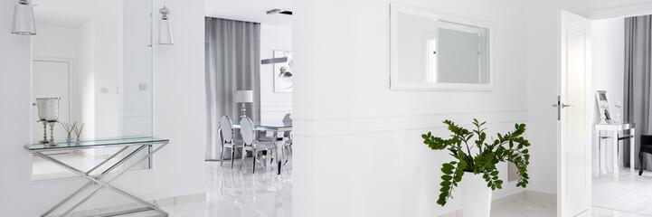 White corridor with mirrors, panorama