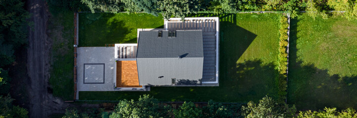 Drone view on elegant house, panorama