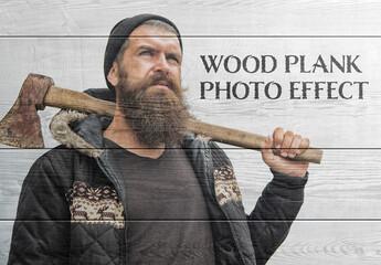 Wood Plank Photo Effect Mockup