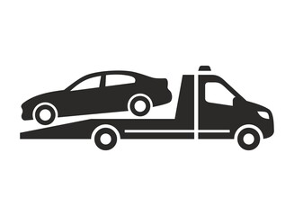 Recovery truck icon. Breakdown cover. Recovery service. Tow truck. 24/7 roadside assistance. Vector icon isolated on white background.