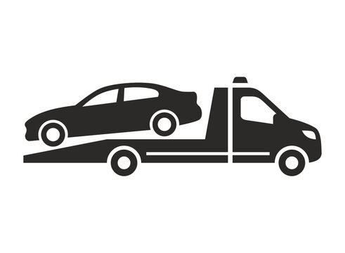 Tow truck icon. Recovery truck. Breakdown cover. Recovery service. Roadside assistance. Vector icon isolated on white background.