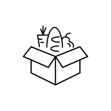 Box with food, food charity, delivery icon.