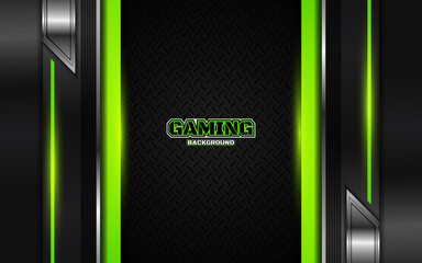 Abstract futuristic black and green gaming background with modern esport shapes. Vector design template technology concept can use element game banner, sport poster, cyber wallpaper, web, advertising