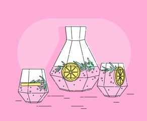 Set of vector elements. A glass decanter with lemonade and lemon, glasses are nearby. Modern style. Outline stroke is not expanded.