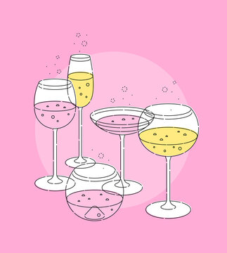 Set of vector elements. Various types of glass goblets with rose and white wine, champagne. Modern style. Outline stroke is not expanded.