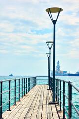 Walking pier by the sea in Limassol