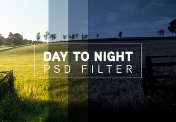 Photo Day to Night Filter Mockup