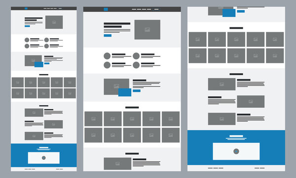 Creative landing page website wireframe interface template. UI/UX wireframe design.