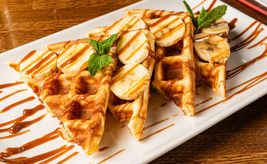 belgian waffles iwth banana and caramel