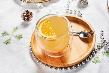 hot ginger tea with lemon