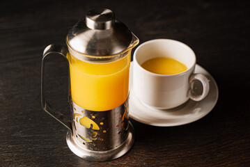 ginger tea in the teapot