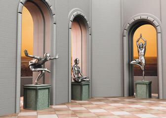 Escena de una sala con figuras 3d de yoguis en diferentes asanas