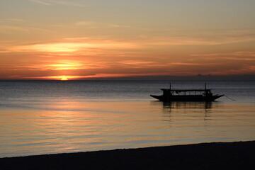 Scenic sunset in Boracay island. Western Visayas. Philippines
