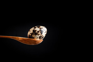 Macro shot of the quail egg in the wooden spoon on the black background