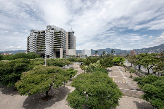 Medellin, Antioquia, Colombia. May 26, 2020: Smart epm building and garden in the Parque Pies Descalzos.