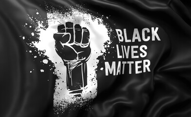 Black Lives Matter white text and raised fist on a black flag, blowing in the wind. Full page flying flag.