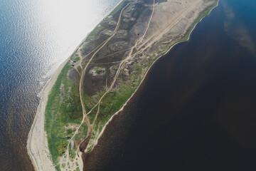 Aerial View of the Varzuga River in Northwestern Russia on the Kola Peninsula