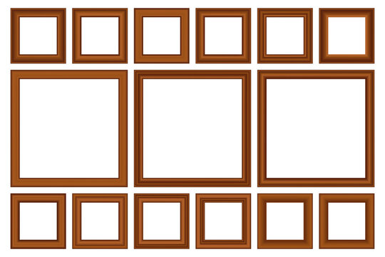Big set of squared vintage gold frame for your design. Vintage cover. Place for text. Vintage antique beautiful rectangular frames. Template vector illustration.